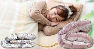 羽毛布団打ち直し・リフォームビフォーアフターと寝ている女性